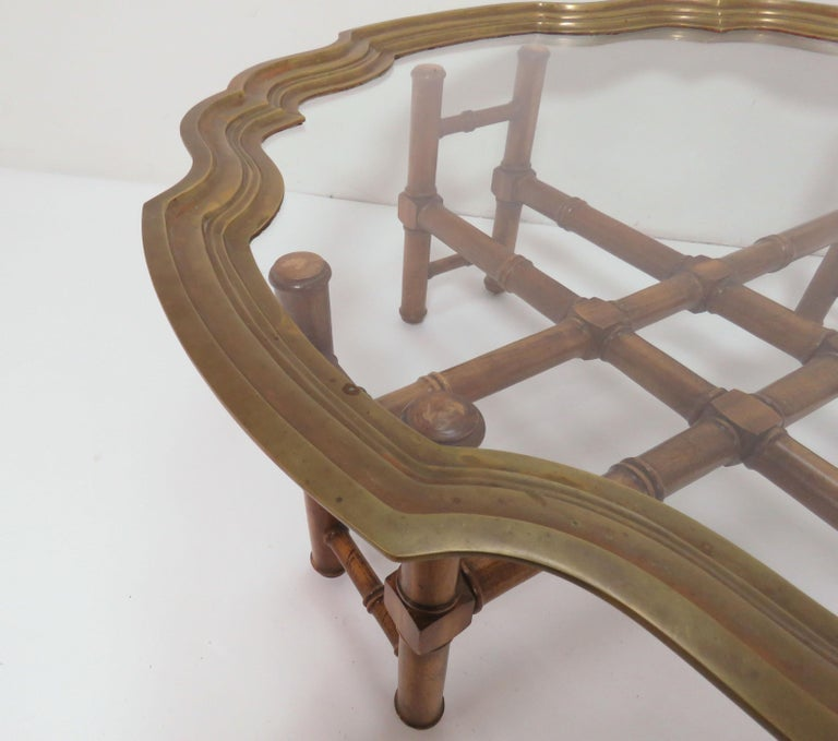 American Hollywood Regency Faux Bamboo Coffee Table with Brass Framed Top