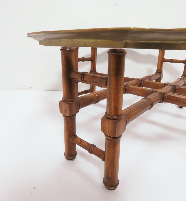 Glass Hollywood Regency Faux Bamboo Coffee Table with Brass Framed Top