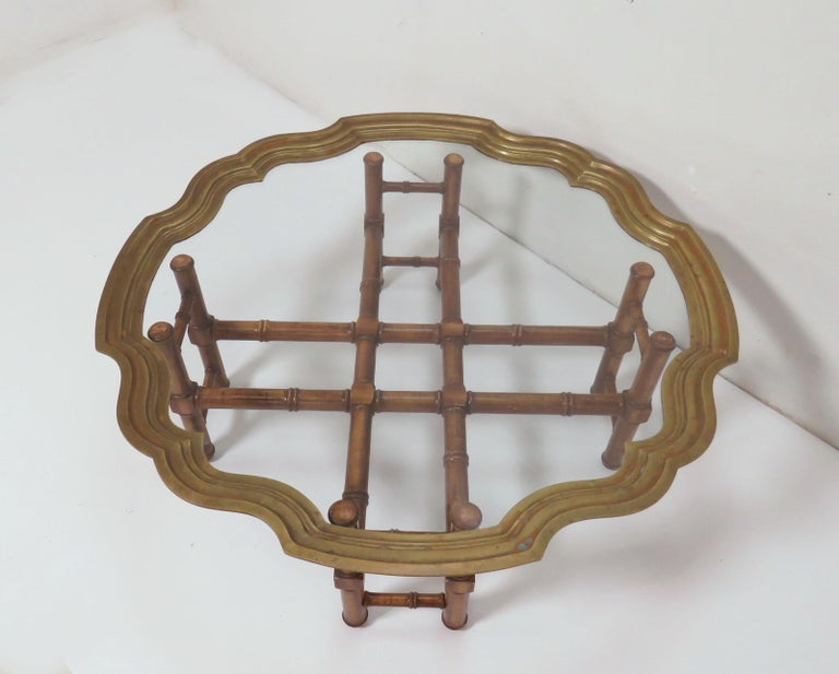 Hollywood Regency Faux Bamboo Coffee Table with Brass Framed Top 2