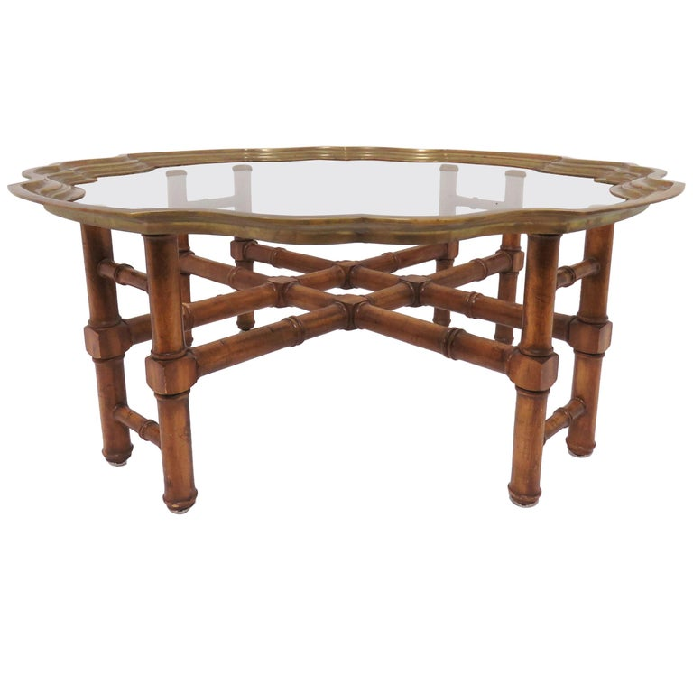 Hollywood Regency Faux Bamboo Coffee Table with Brass Framed Top