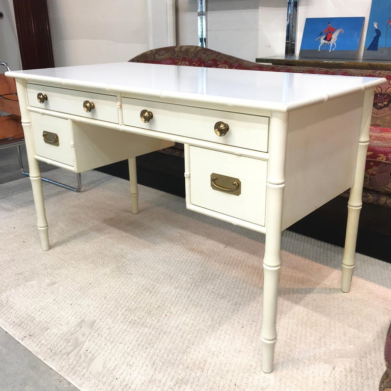 Hollywood Regency Faux Bamboo Desk with Brass Hardware 10