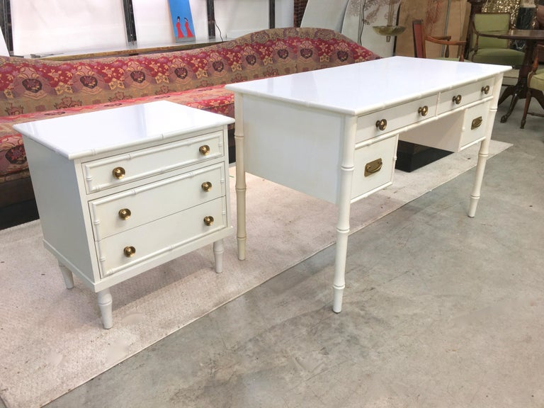 Painted Hollywood Regency Faux Bamboo Desk with Brass Hardware