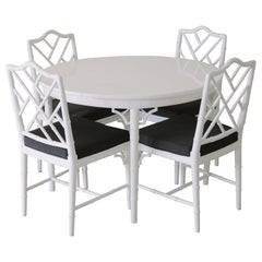 Hollywood Regency Faux Bamboo Dining Table Set