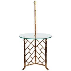 Hollywood Regency Faux Bamboo Floor Lamp Glass Table