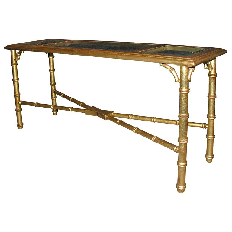 Hollywood Regency Faux Bamboo Gilt Console or Sofa Table For Sale