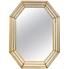 Hollywood Regency Faux Bamboo Gilt Octagonal Mirror