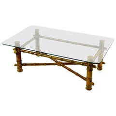 Hollywood Regency Faux Bamboo Glass Top Coffee Table