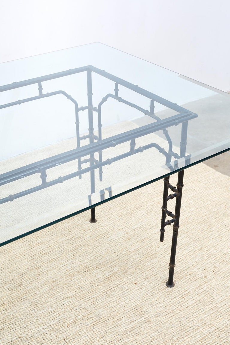 Hollywood Regency Faux Bamboo Iron Dining Table For Sale 1