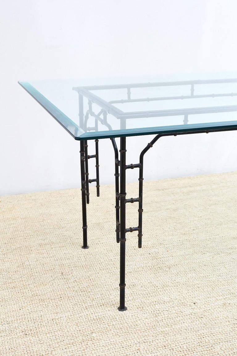 Hollywood Regency Faux Bamboo Iron Dining Table For Sale 2
