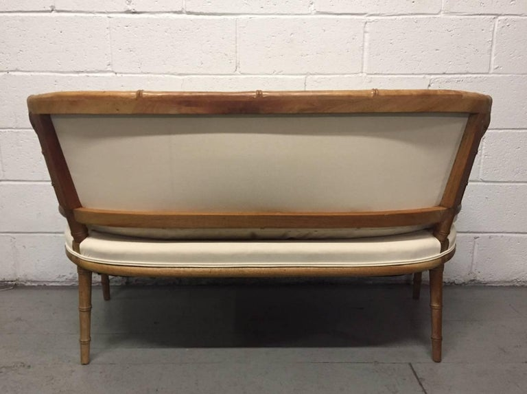 Mid-20th Century Hollywood Regency Faux Bamboo Sofa For Sale