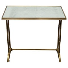 Maison Bagues Attr. Hollywood Regency Faux Bamboo Mirrored Brass Side Table