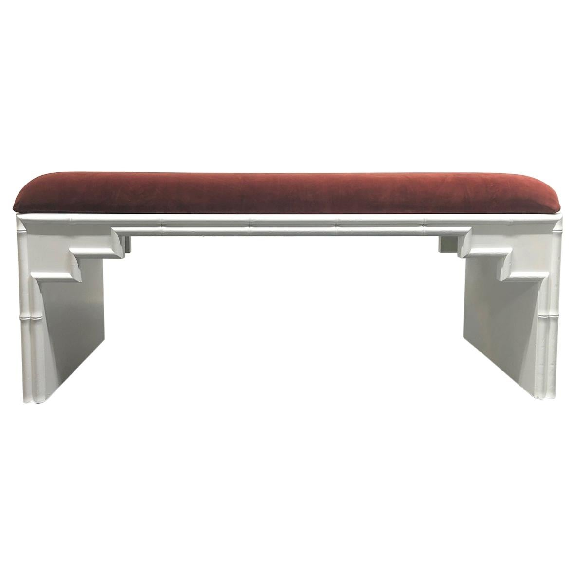 Hollywood Regency Faux Bamboo Upholstered Bench