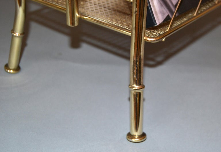 Hollywood Regency Faux Brass Bamboo and Cane Magazine Rack For Sale 4