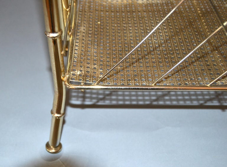 Hollywood Regency Faux Brass Bamboo and Cane Magazine Rack For Sale 5