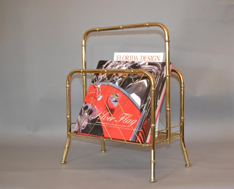 Hollywood Regency Faux Brass Bamboo and Cane Magazine Rack For Sale 6
