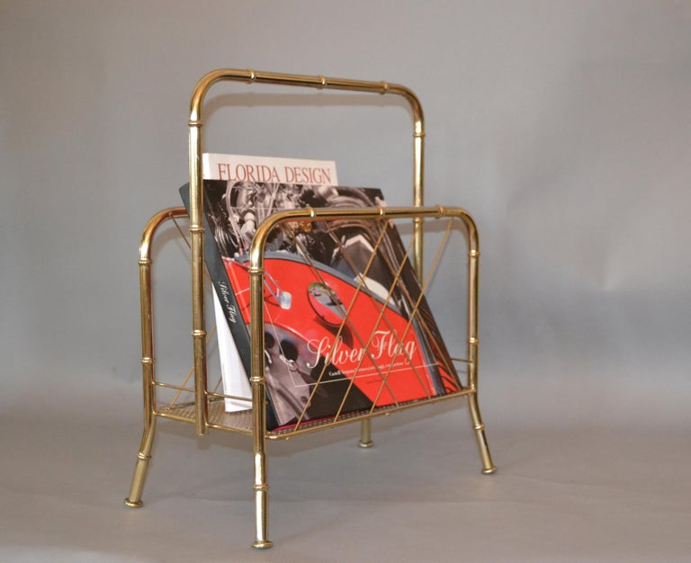 American Hollywood Regency Faux Brass Bamboo and Cane Magazine Rack For Sale