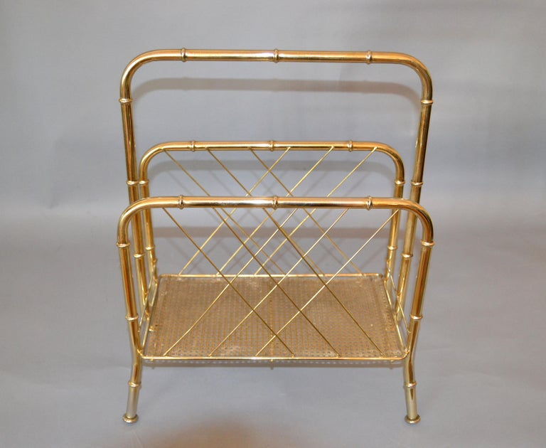 Hollywood Regency Faux Brass Bamboo and Cane Magazine Rack In Good Condition For Sale In North Miami, FL