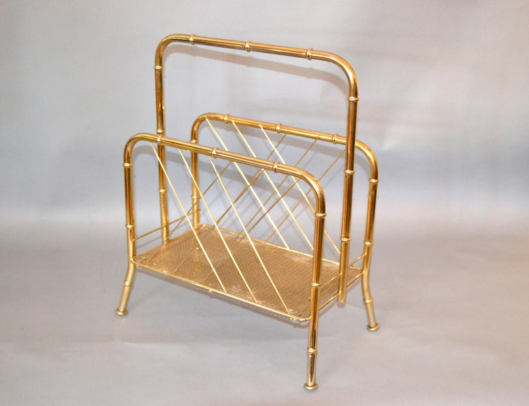 Late 20th Century Hollywood Regency Faux Brass Bamboo and Cane Magazine Rack For Sale