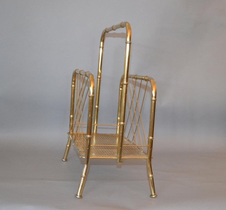 Hollywood Regency Faux Brass Bamboo and Cane Magazine Rack For Sale 2