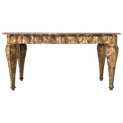 Hollywood Regency Faux Tortoise Marble Top Console