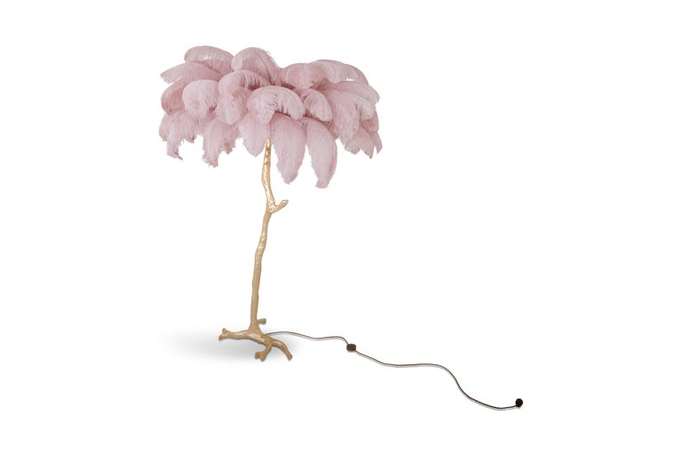 Hollywood Regency Feder Palme Stehlampe in Gold und Pink 3