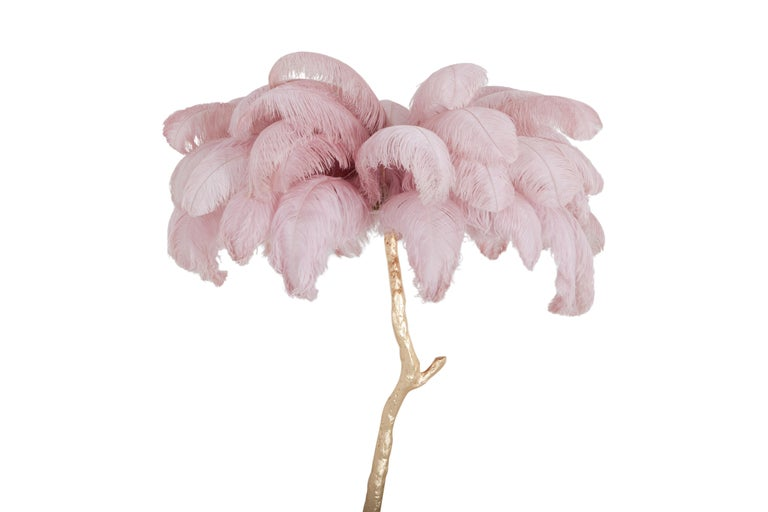 Hollywood Regency Feder Palme Stehlampe in Gold und Pink 4