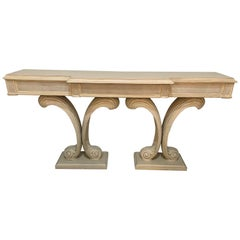 Hollywood Regency Fleur de Lis Double Pedestal Console Table