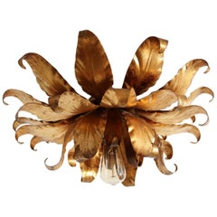 Hollywood Regency Flush Mount Ceiling Lamp with Gilt Leaves by Kögl, 1970s