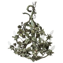 Hollywood Regency Foliate Chandelier in Patinated Bronze