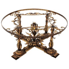 Gilt Iron Round Coffee Table Base with Foliate Motif, Spain, 1950s