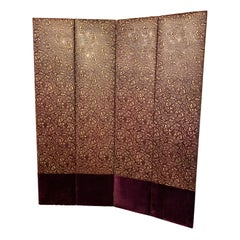 Hollywood Regency Four-Panel Leather and Velour Room Divider or Screen