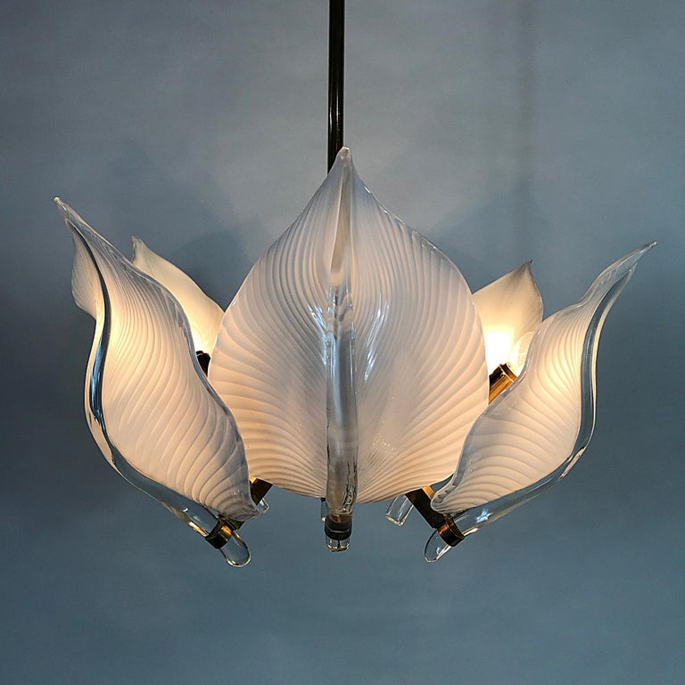Hand-Crafted Hollywood Regency Franco Luce Murano Glass Leaves Chandelier, Italy, 1970s For Sale