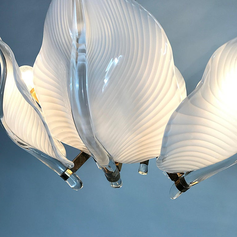 Hollywood Regency Franco Luce Murano Glass Leaves Chandelier, Italy, 1970s For Sale 1