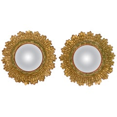 Hollywood Regency French Giltwood and Gesso Sunburst Convex Wall Mirrors, a pair