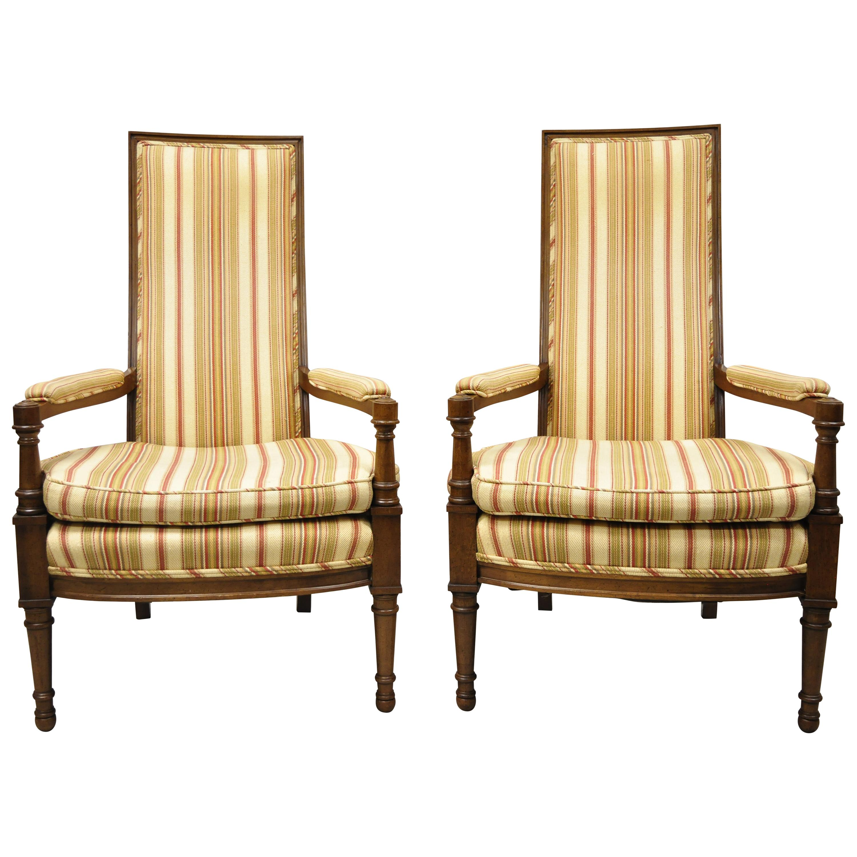 Hollywood Regency French High Back Upholstered Fireside Armchairs, a Pair