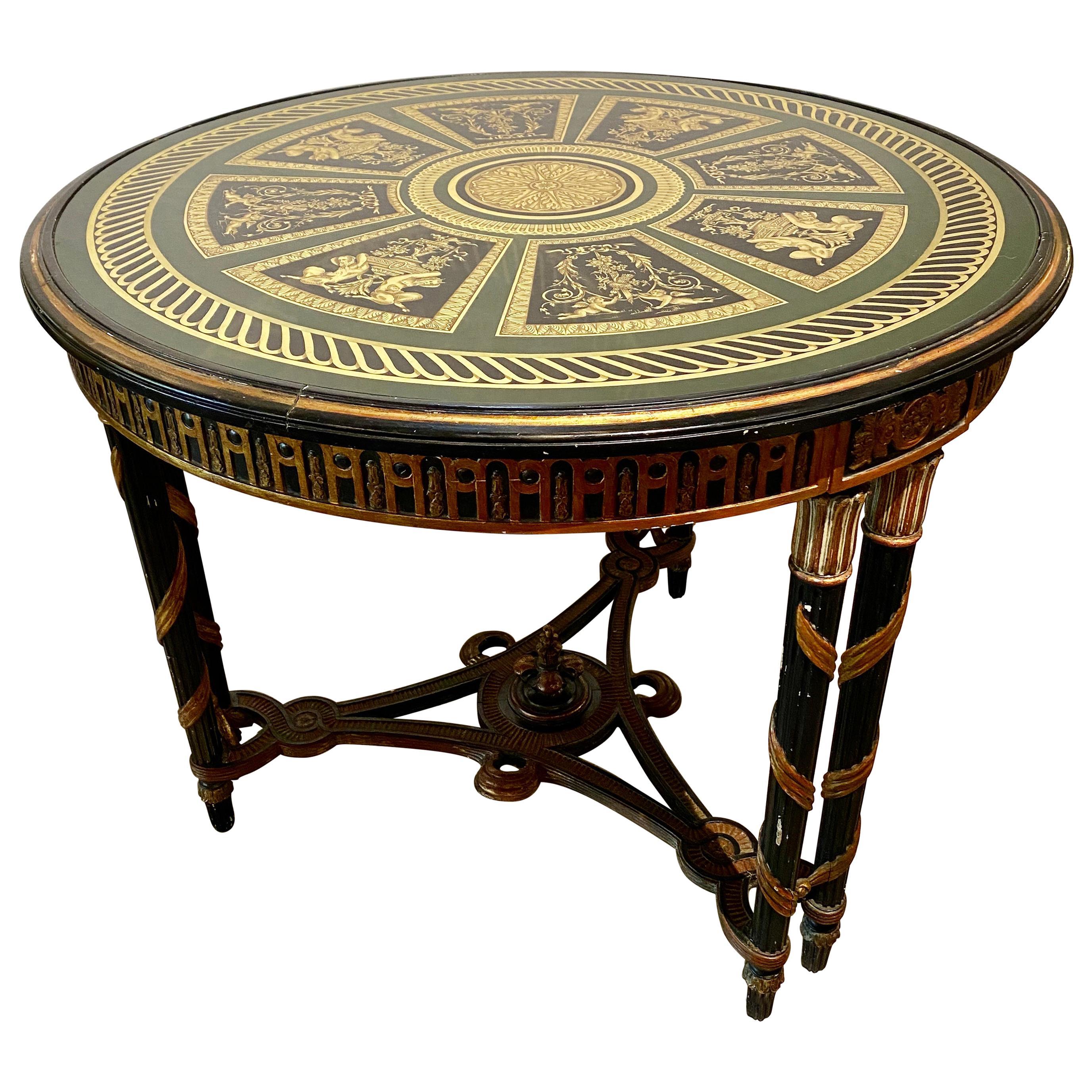 Hollywood Regency French Neoclassical Style Églomisé Center Table, End Table