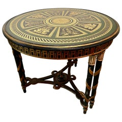 Hollywood Regency French Neoclassical Style Églomisé Center Table, End Table