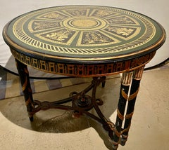 Hollywood Regency French Neoclassical Style Eglomise Center Table, End Table.