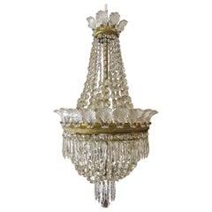 Hollywood Regency French Six-Light Crystal Chandelier
