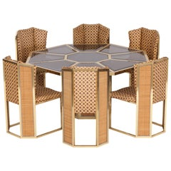 Hollywood Regency Gabriella Crespi Style Brass and Rattan Dining Chairs