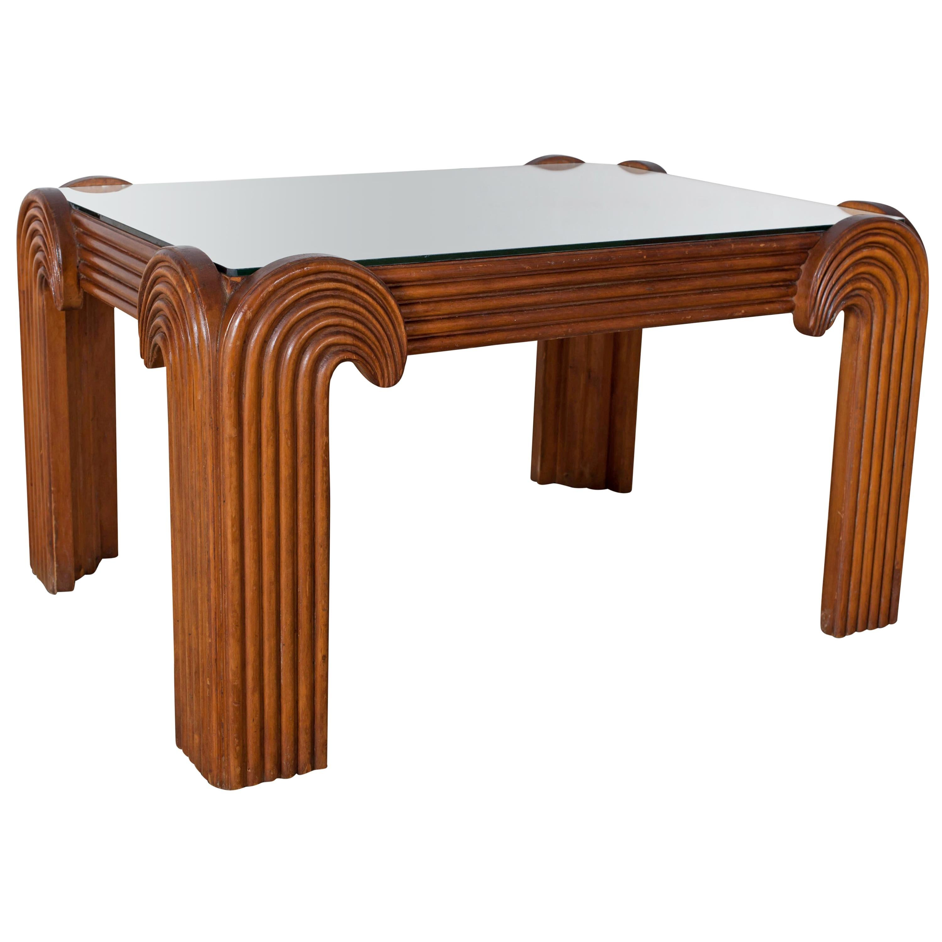 Hollywood Regency Coffee Table with Mirror Top