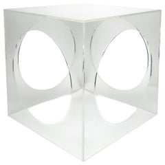 Hollywood Regency Geometric Lucite Side Table