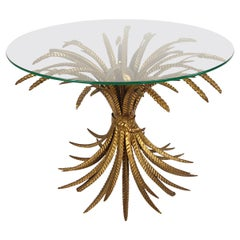 Hollywood Regency Gilded Coco Chanel Style Sheaf of Wheat Coffee Table