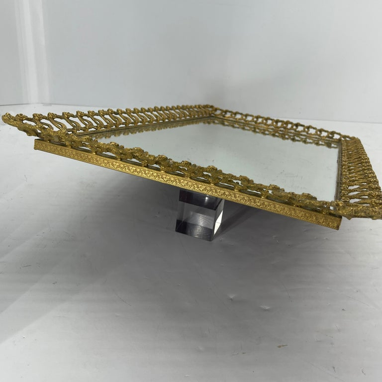 Hollywood Regency Gilded Mirrored Serving Tray with Filigree Design For Sale 10