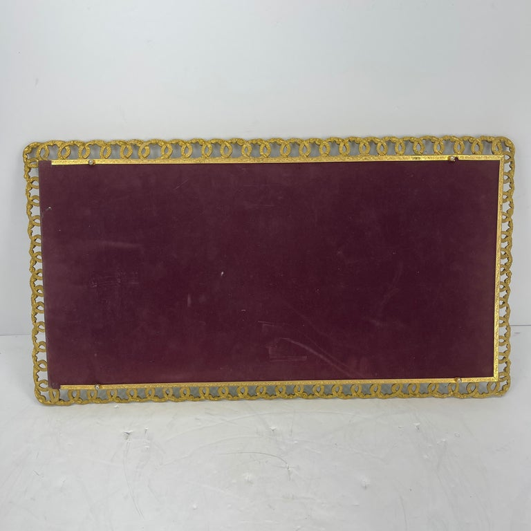 Hollywood Regency Gilded Mirrored Serving Tray with Filigree Design For Sale 12