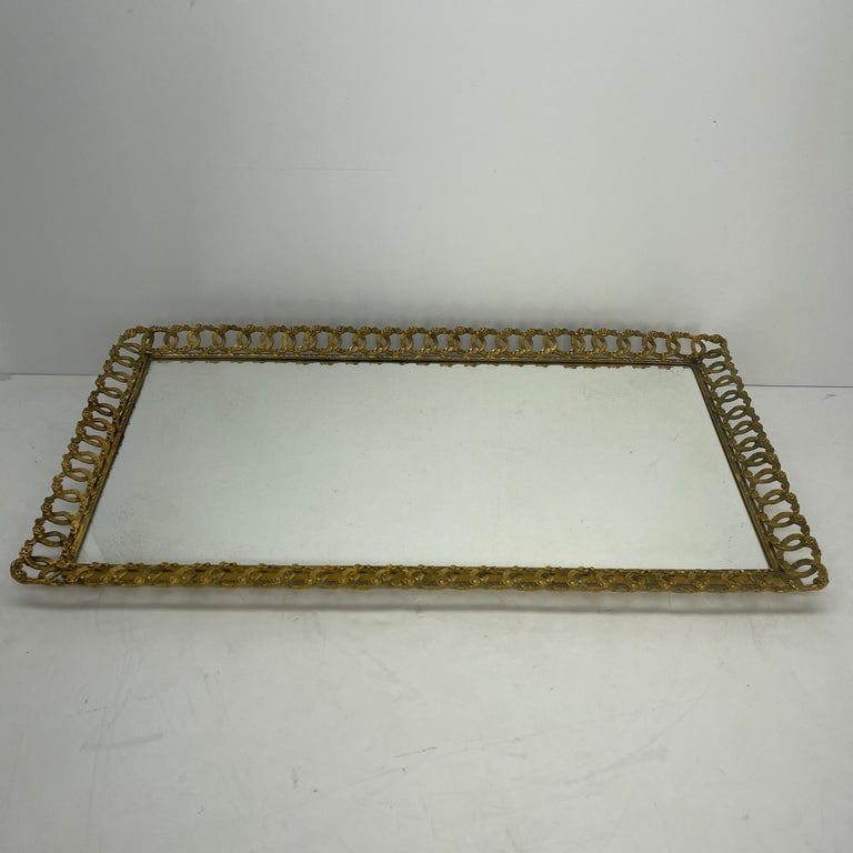 Hollywood Regency Gilded Mirrored Serving Tray with Filigree Design In Good Condition For Sale In Haddonfield, NJ