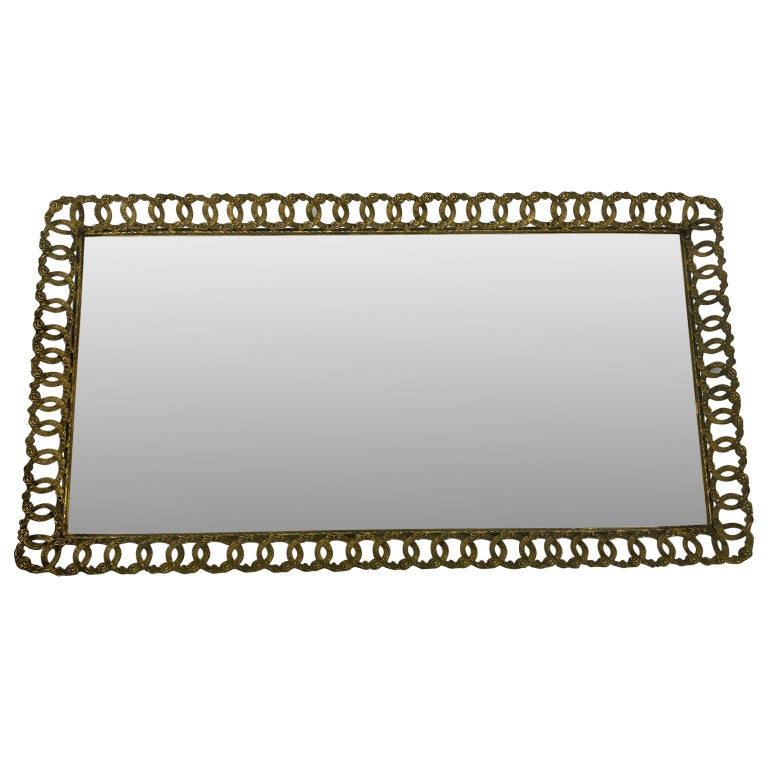 Gilt Hollywood Regency Gilded Mirrored Serving Tray with Filigree Design For Sale