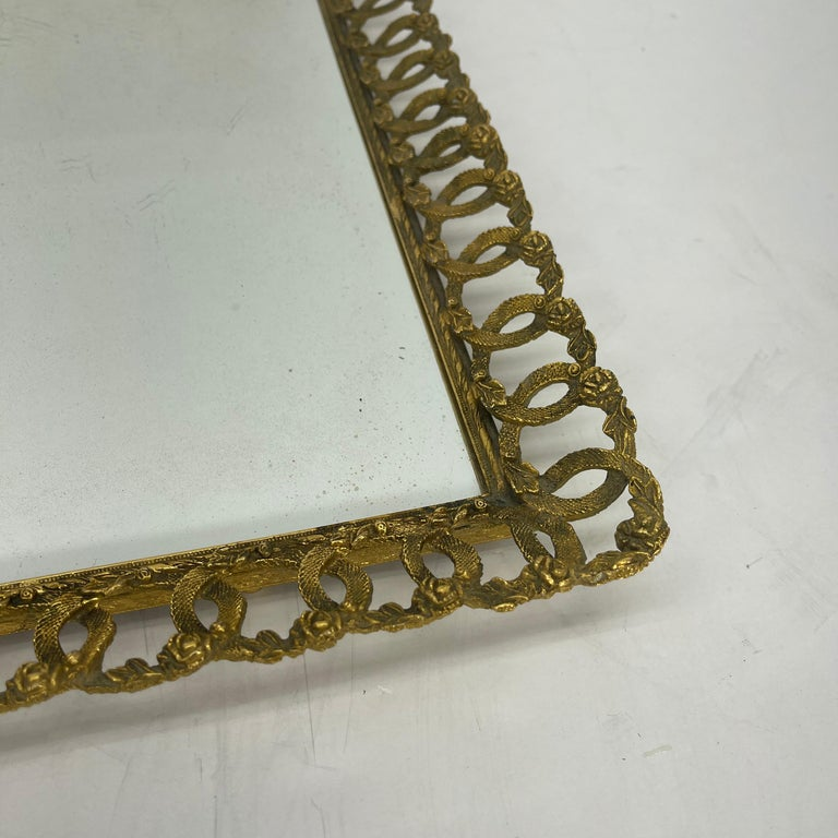 Metal Hollywood Regency Gilded Mirrored Serving Tray with Filigree Design For Sale