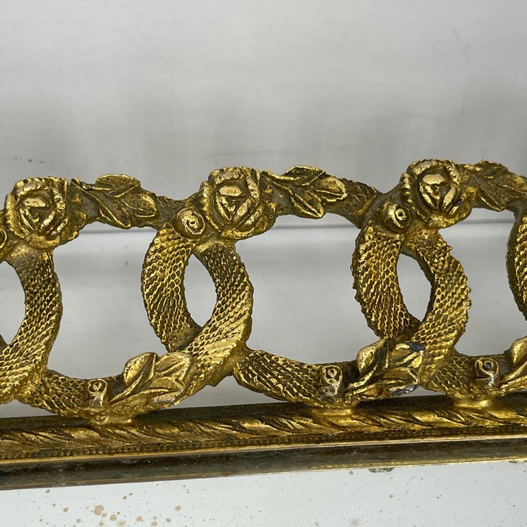 Hollywood Regency Gilded Mirrored Serving Tray with Filigree Design For Sale 2