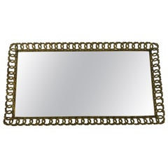 Hollywood Regency Gilded Mirrored Serving Tray with Filigree Design